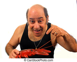 Fresh Today - , a bald salesman holding a fresh lobster,over...
