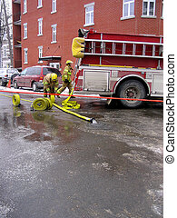 firefighters - Montreal firefighters on a wintery afternoon