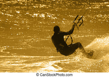 Kite Surfer - Kite Surfing at Dusk