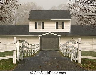 Foggy FarmHouse - This is a shot of a foggy farmhouse on a...