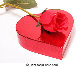 Heart and Rose - Heart-shaped box with red rose faux