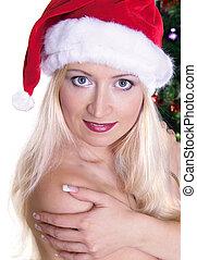 Christmas bunny - pretty girl as christmas bunny