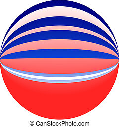 red and blue ball - digital red white and blue ball