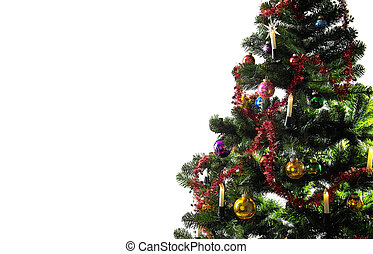 Christmas tree - christmas tree decorated on the white...