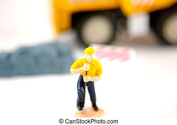 Break Time - Toy construction worker taking a break