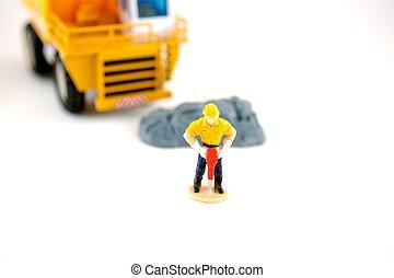 Jackhammer - Toy construction Jackhammer worker isolated...
