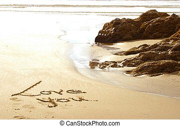 Sand art - Love written in the sand