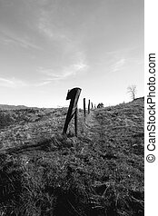 Black and White High - Fenceline along some of the highest...