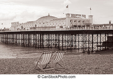 Sepia Brighton Pier - A sepia shot of Brighton Pier with 2...