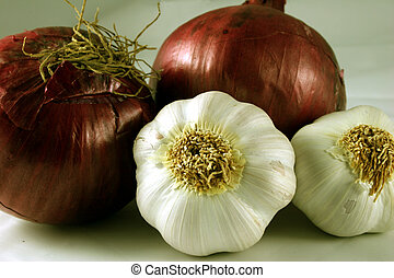 Garlic and Onions - Close-up of garlic and onions