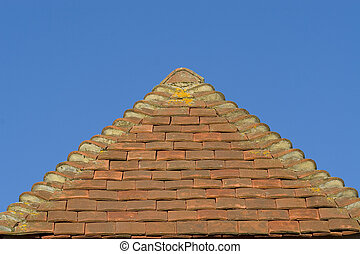 Roof Apex - The apex of a traditionally tiled British roof
