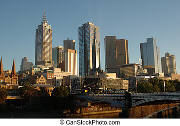 Melbourne, Australia - View of Melbournes city with the...