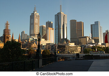 Melbourne, Australia - View of Melbourne\\\'s city with the...