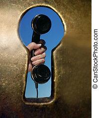 Ojo de la cerradura, teléfono