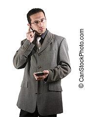 homem negócios, pda, telefone, orelha, pedaço