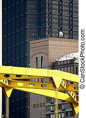 Building and Bridge - View over Top of Bridge to Steel Tower...