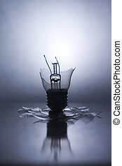 Shattered - Broken Lightbulb with backlight and reflection