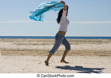Fun on The Beach - Asian girl expressing her happines at...