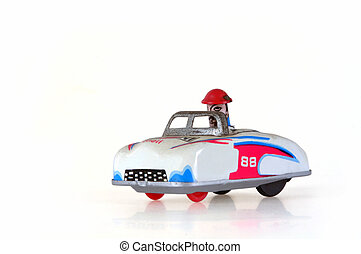 Tin Toy Racing Car - Retro tin toy clockwork racing car,...