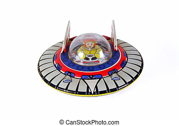Tin Toy Flying Saucer - Old clockwork tin flying saucer toy...