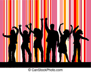 Disco dancing - Silhouettes of people dancing
