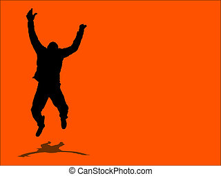 Jump for joy! - Silhouette of man jumping