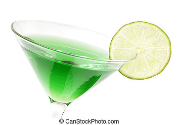 Lime Martini - Lime green martini with lime garnish