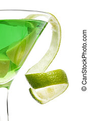 Citrus Cocktail Twist - Lime green martini with lime twist...