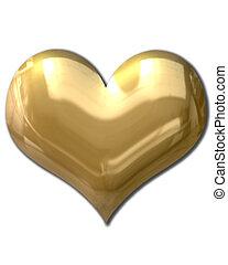 dourado, Coração, inchado
