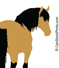 Horse Illustration - Buckskin horse in illustration