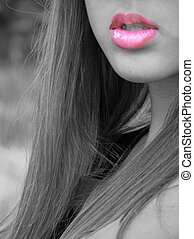 Kiss Me Lips - Black white image of a young girl with pink...