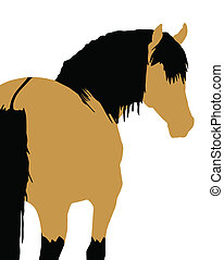 Horse Illustration - Hind view of a dun horse in...