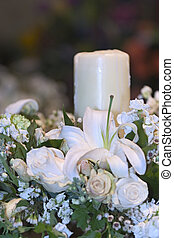 Wedding candle - Flower and candle composition