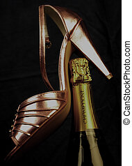Pink Champagne - Champagne and pink shoe