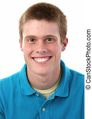 Teen Boy Smile - Portrait of cute freckled redheaded male...