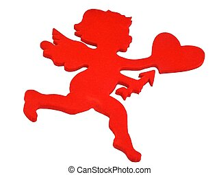 red cupid - isolated red cupid with room for copy ,text