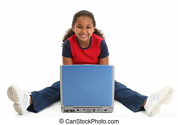 Child Laptop Girl - Beautiful African American preteen girl...