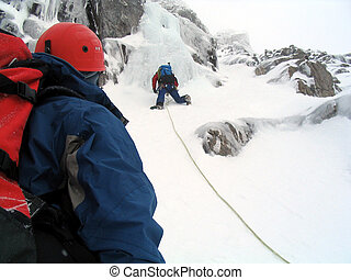 Ice climbers - Two ice climbers on Ben Nevis in Scotland