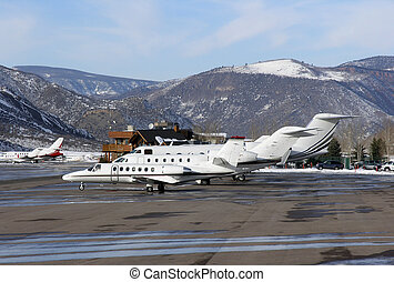 airport - aircraft parked in aspen airport