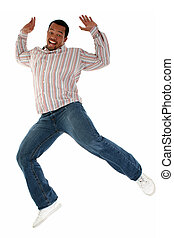 Man Happy Jumping - Handsome Casual African American male...