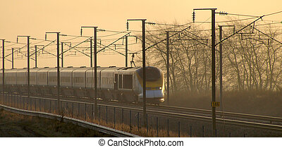 Bullet train sunset - High speed bullet train in France...