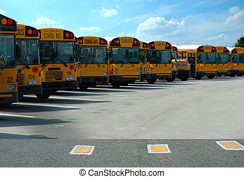 School Buses Parked - School buses parked at the schoolyard....