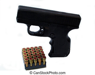 9mm and shells - , a 9mm pistol and shells,over white, good...