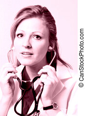 Lady doctor with stethoscope