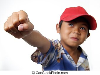 Child Accomplishes and raises fist
