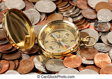 Market Direction - Photo of a Compass and Money - Money...