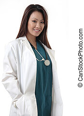 Pretty Asian Doctor on white