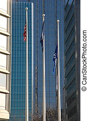 Office & Flags - Flags in Front of Downtown Office