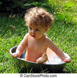 verano, bebé, baño