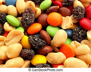 trail mix with nuts, chocolates and raisins